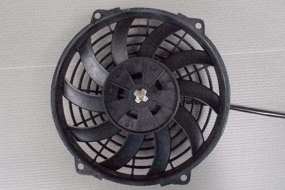 【 取付バンド付 】 9インチ 汎用 電動 ファン 薄型 プッシュ式 吹風式 12V 自動車用