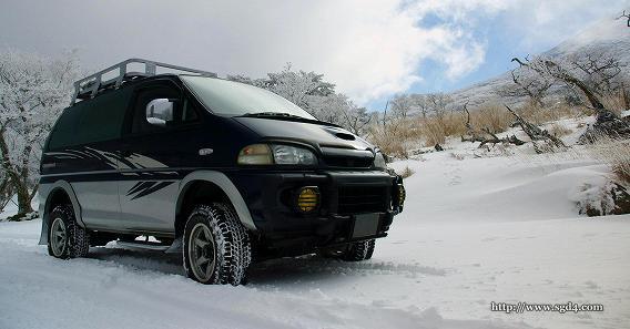 デリカスペースギアで雪道 at えびの高原 01