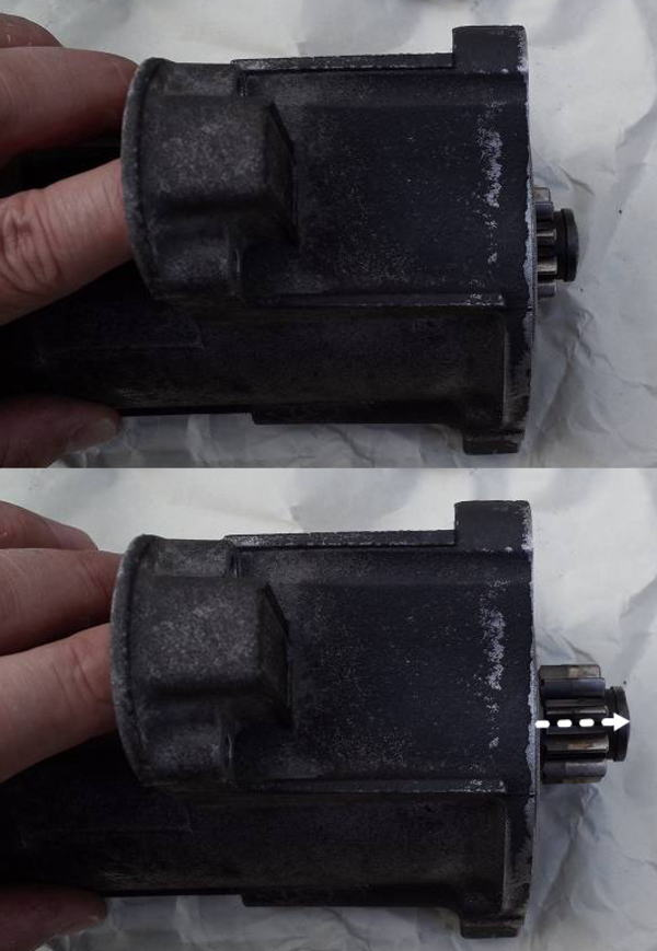 マグネットスイッチによる ギア摺動